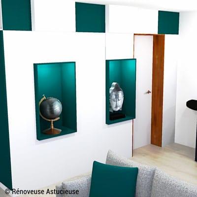 Ce meuble de rangement remplace la cloison. Il est réalisé avec des caissons de cuisine standard en deux profondeurs.