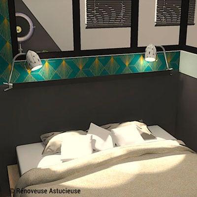 Pour remplacer les tables de chevet, installe une tablette et des lampes pinces au-dessus du lit