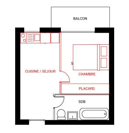 Positionner la chambre du côté du balcon réduit la luminosité dans la pièce à vivre et limite l'accès au balcon.