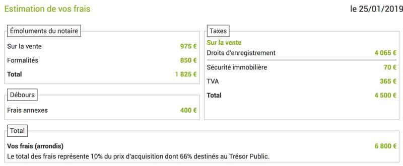 Pour estimer les frais de notaire, rendez-vous sur le site immobilier.notaires.fr