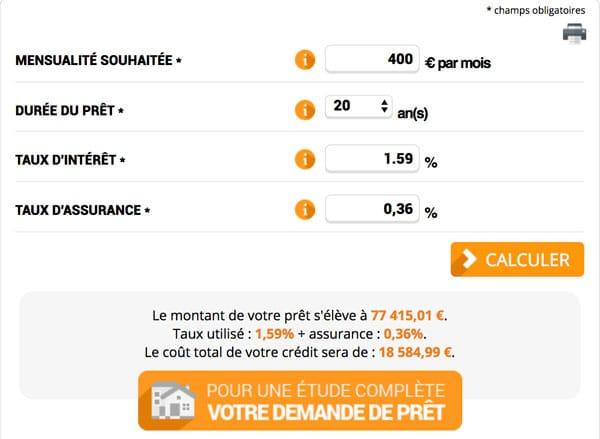 Utilise le simulateur du site meilleurtaux.compour déterminer le montant maximal que tu peux emprunter