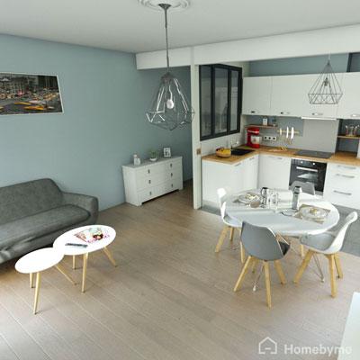 Plan 3D du salon réalisé sur Homebyme