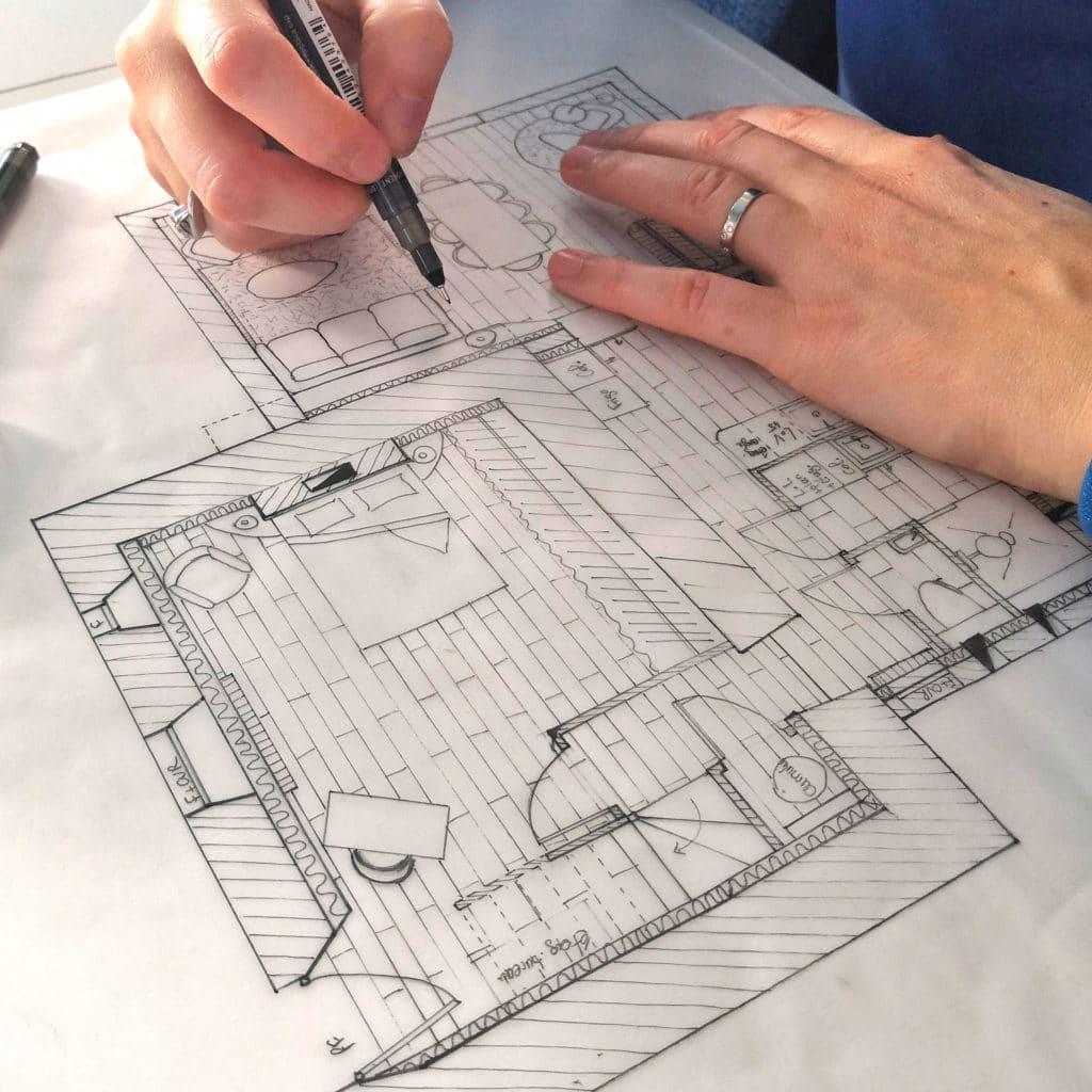 Idées d'aménagement et décoration pertinentes, plans dessinés à la main
