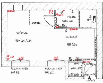 Plan d'état des lieux du studio de 18 m2 d'Elise