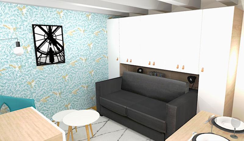 Pour optimiser l'espace, j'ai choisi de créer un grand meuble semi sur-mesure, à partir de meubles standard du commerce.