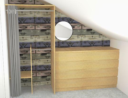 Dressing créé à partir de meubles standard pour suivre la pente du toit