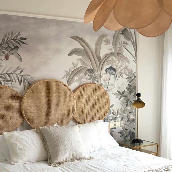 Tête de lit en papier peint