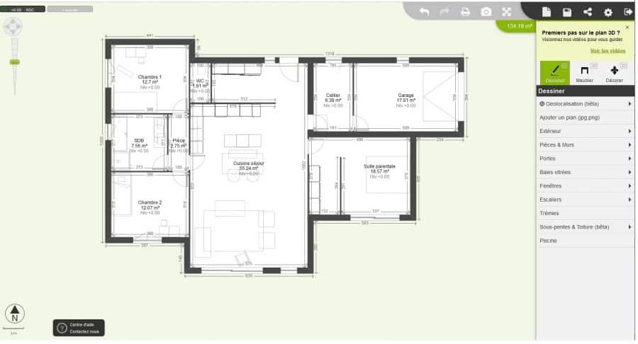 Exemple de plan d'aménagement réalisé grâce au logiciel gratuit Kozikaza