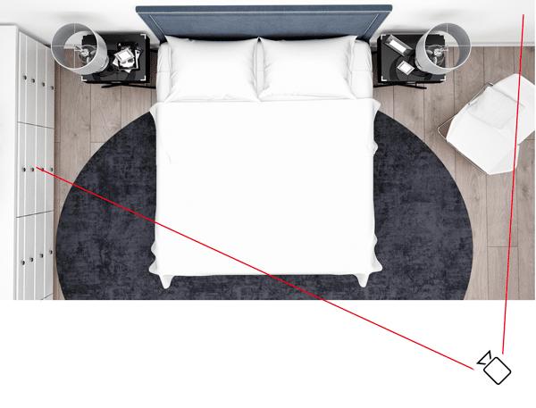 Chambre à coucher - Vue de biais (favorable)