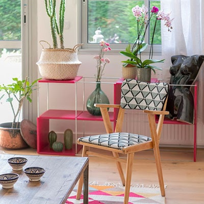 Accessoiriser avec des pots, des plantes, des textiles