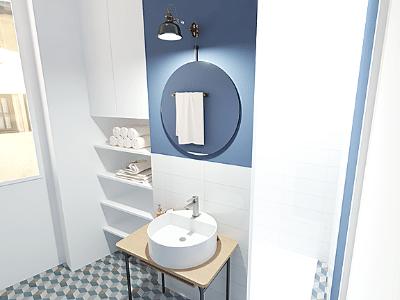 Salle de bains bleue vintage