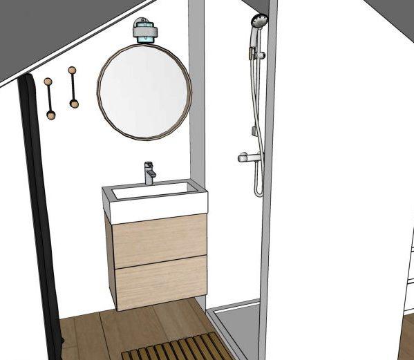 Aménager les combles : meuble vasque contre le pignon