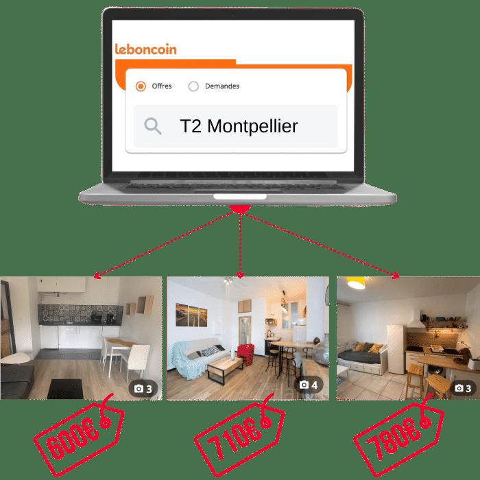 Recherche T2 Montpellier sur Leboncoin